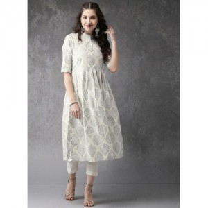 Anouk Cream Printed Kurta