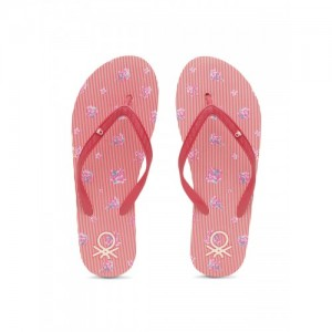 United Colors of Benetton Women Red & Off-White Striped Thong Flip-Flops