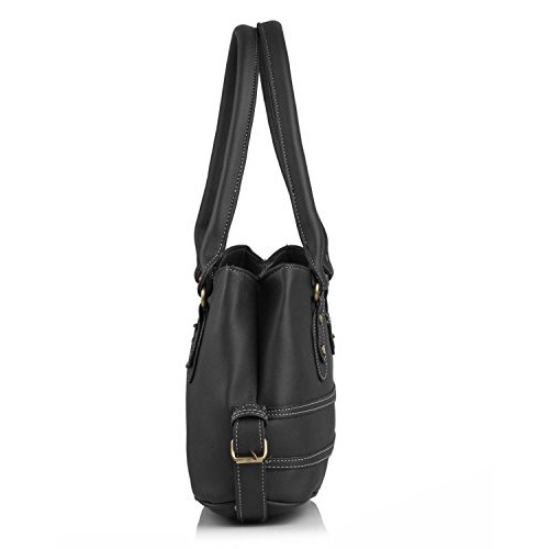 Fostelo Women's Combo Handbag & Clutch (Black & Black) (FSB-1045-FC-07)