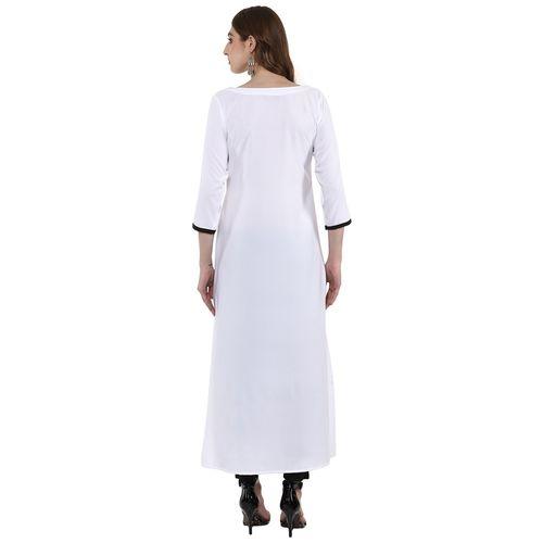 Ziyaa Women's Crepe Kurta - White