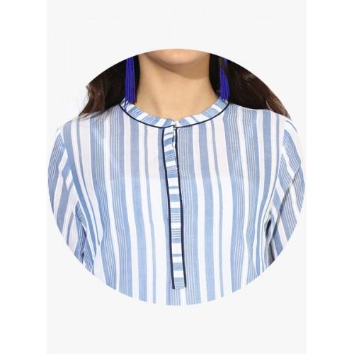 Aurelia Blue Striped Kurta