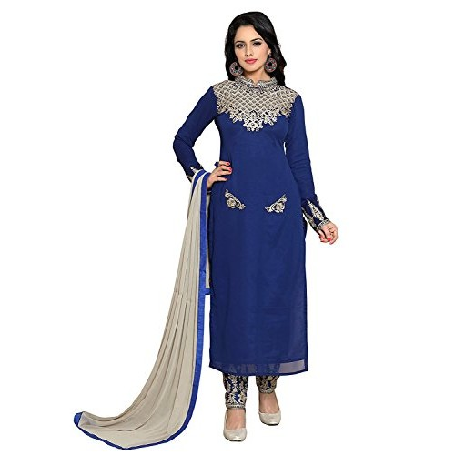 Bhumik Enterprise Women Georgette Anarkali Semi-Stitched Salwar Suit (LMKJHS10467_Blue_Free Size)