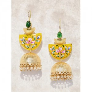 Anouk Gold-Toned & Yellow Dome-Shaped Jhumkas