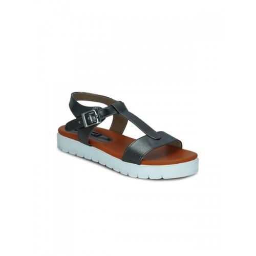 Get Glamr Get Glamr Daenerys Dark Grey T-Strap Sandals