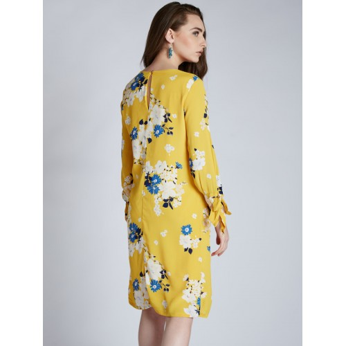 Harpa Yellow Polyester Printed Women's A-line Dress