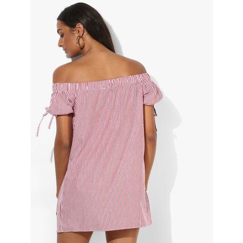 38497191c57e Buy FOREVER 21 Women Red   White Striped Off-Shoulder Shirt Dress ...