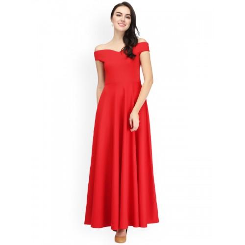 dc913ad48f04 Buy Eavan Women Red Solid Maxi Off-Shoulder Dress online