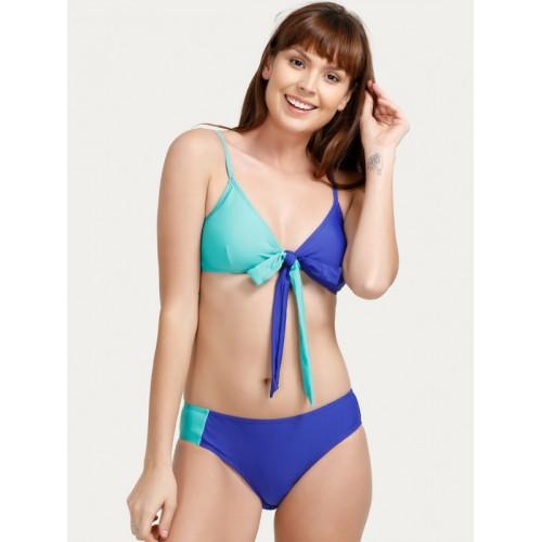 Zivame Blue Solid Swim Bikini Set ZI0806S10JZBLUE