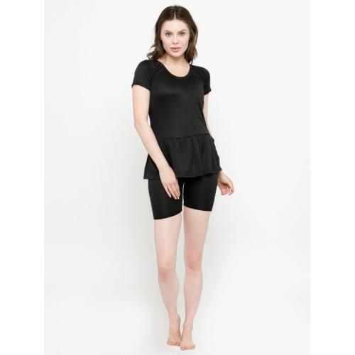 N-Gal Women Blue & Black Solid Swimsuit