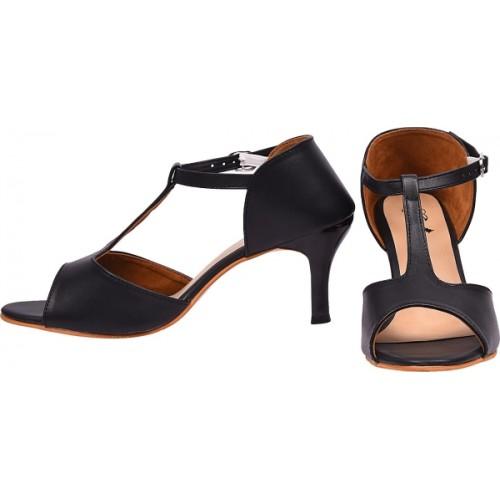 Jade Black Polyurethane Heels Sandal