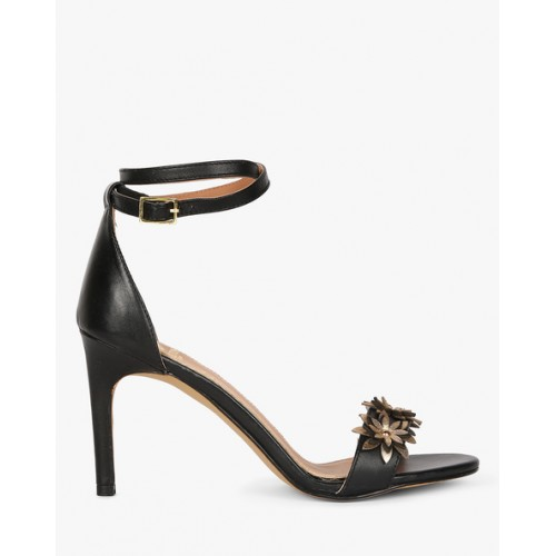Carlton London Women Black & Gold-Toned Leather Heels with Floral Appliques