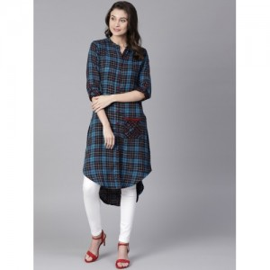 Shree Blue Checked Straight High Low Kurta