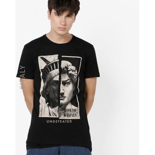 ALCOTT Black Graphic Print Crew-Neck T-shirt