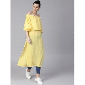 Shree Women Yellow Solid Straight Kurta