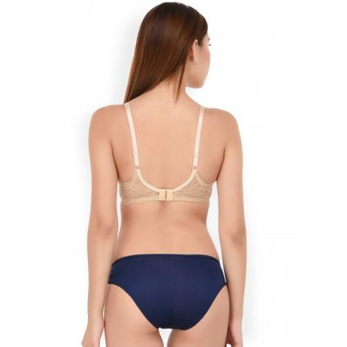 PrettyCat Blue & Beige Solid Bikini Lace Lingerie Set