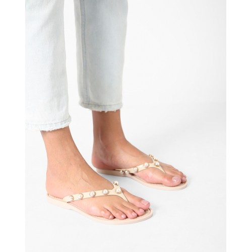 Carlton London Embellished Thong-Style Jelly Sandals
