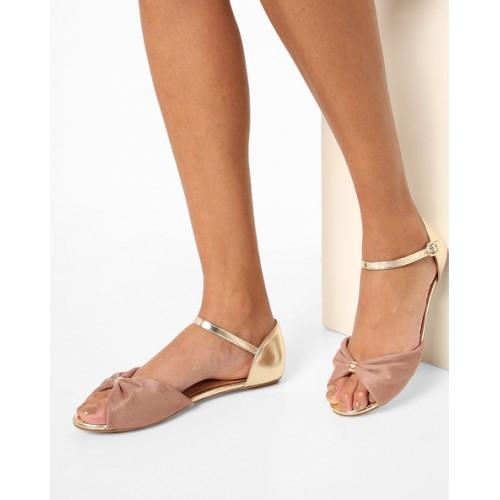 Carlton London Peep-Toe Flat Sandals