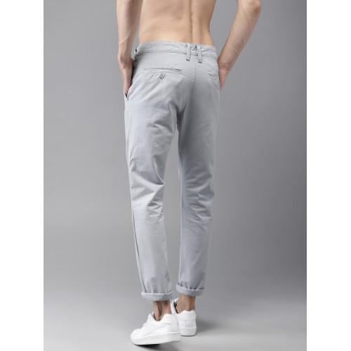 Moda Rapido Men Grey Regular Fit Solid Chinos