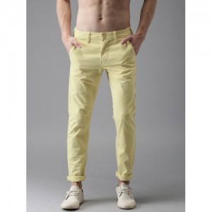 HERE&NOW Men Yellow Slim Fit Solid Chinos