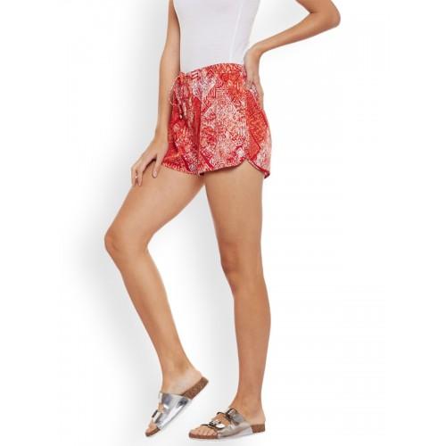 WISSTLER Women Red & White Printed Regular Fit Sports Shorts