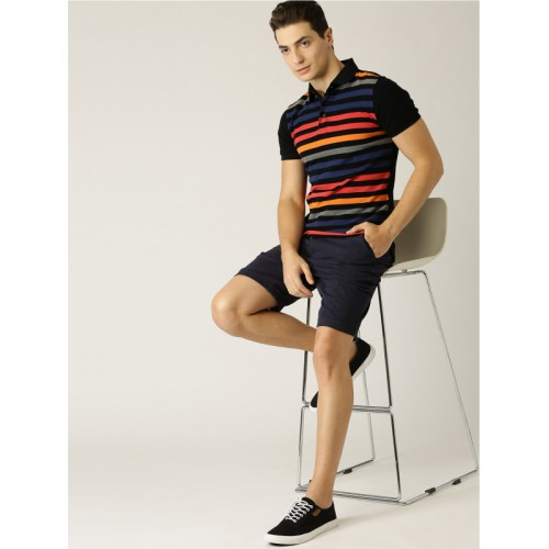 UNITED COLORS OF BENETTON Black Cotton Striped Polo T-shirt