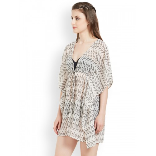a9b4825737 ... The Beach Company Women Off White & Black Printed Kimono Cover-Up Dress  ...