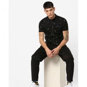 WRANGLER Black Cotton Printed Polo T-shirt