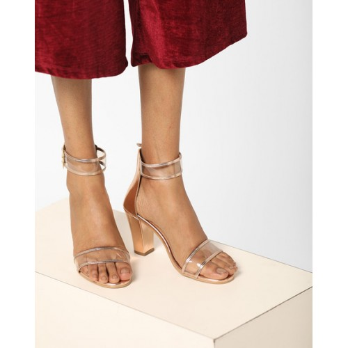 550a83749127 Buy AJIO Chunky Heels with Buckle Closure online