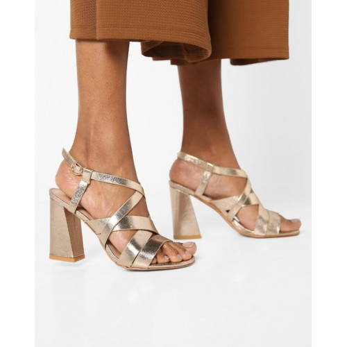 621577bcc06 Buy AJIO Chunky Heeled Sandal with Criss-Cross Straps online ...