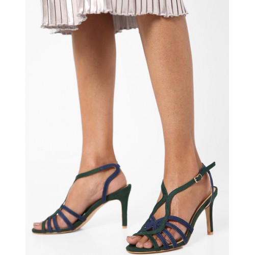 AJIO Heeled Sandals with Ankle Strap