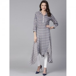 Shree Grey Checked Trail Cut Kurta