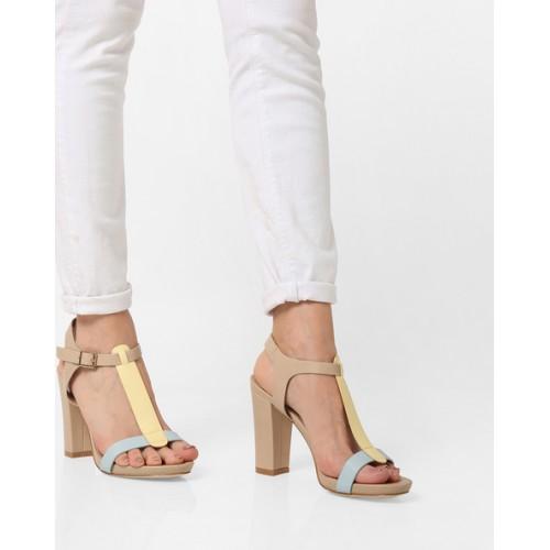8c31696d91 Buy AJIO Colourblock Heeled Sandals with Buckle Closure online ...