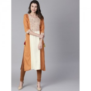Shree Off-White & Brown Yoke Design Straight Kurta