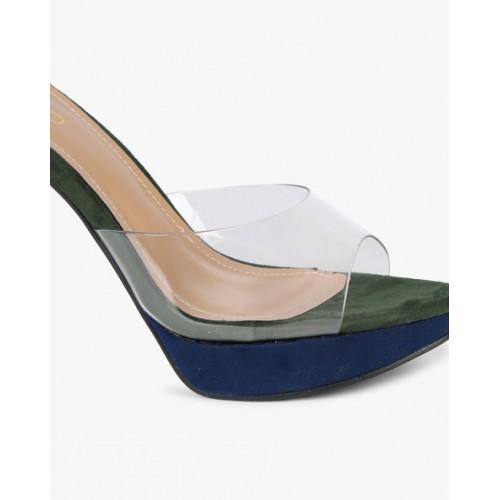 4761b4f6296 Buy AJIO Colour-Block Stilettos with Clear Strap online