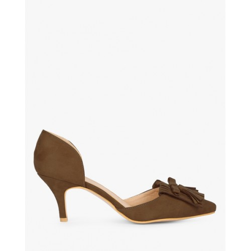 AJIO Pointed-Toe Pumps with Fringes