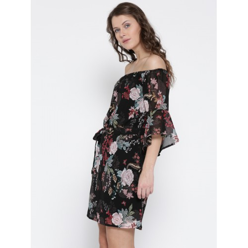 8dbad07d2fa Buy Sera Women Black Printed Fit and Flare Dress online