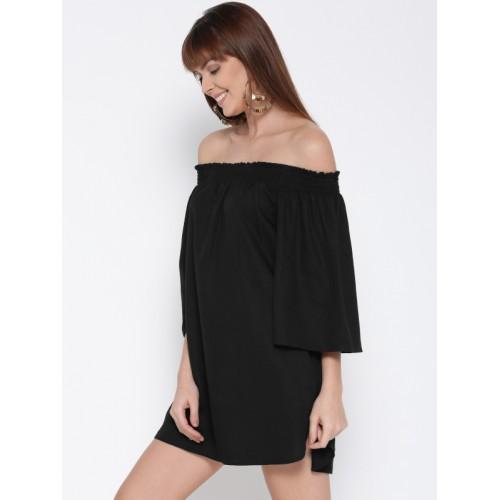 FOREVER 21 Women Black Solid Off-Shoulder A-Line Dress