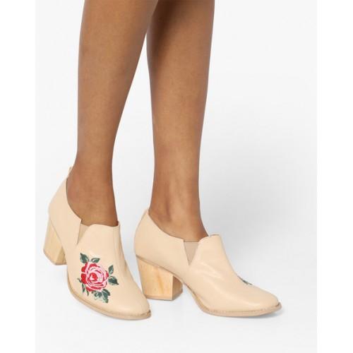 caea04ef97 AJIO Floral Embroidered Block Heels; AJIO Floral Embroidered Block Heels ...