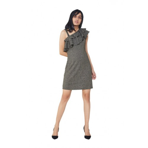 AND Black Striped Above Knee Dress
