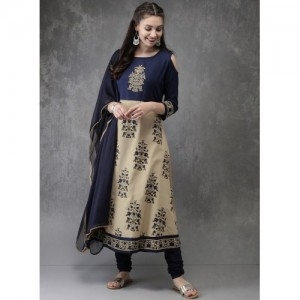 Anouk Beige & Blue Cotton Blend Kurta Churidar Dupatta