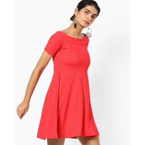 And Textured Off-Shoulder Skater Dress