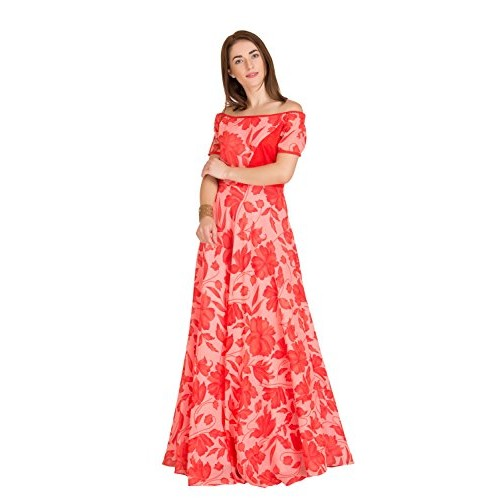 Raas Prêt Women's Georgette Off Shoulder Full Length Maxi Gown(Red,Peach)