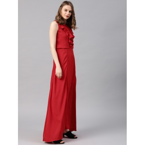 4321618eac8 Buy Tokyo Talkies Red Polyester Solid Maxi Dress online | Looksgud.in