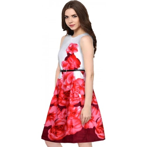 Buy Funny Womens Fit And Flare Red Dress Online Looksgud