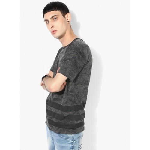 Blue Saint Slim Fit Crew-Neck T-shirt with Striped Hem