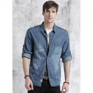 Roadster Blue Washed Regular Fit Denim Shirt