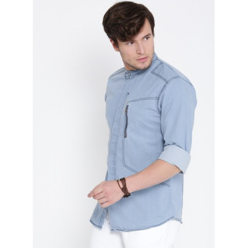 Roadster Blue Washed Regular Fit Denim Shirt