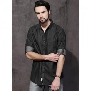 Roadster Black Regular Fit Denim Shirt