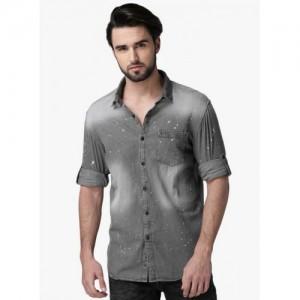 ECKO UNLTD Grey Washed Slim Fit Denim Shirt