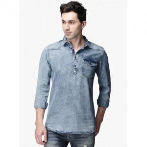 ECKO UNLTD Blue Washed Slim Fit Denim Shirt